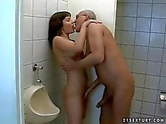 Teen fucking with old man in public toilet