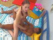 Skinny teen suck and ride black dick
