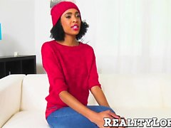 Skinny gorgeous ebony teen babe handles a fat dong real good