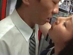 Japanese teen girl sucks in a bus