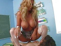 Amazing busty blonde teen schoolgirl riding huge cock