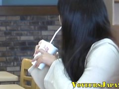 Japanese teen rubs clit