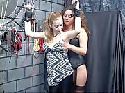 Sex slave gets bound by leather cuffs and mistress gives nipple torture