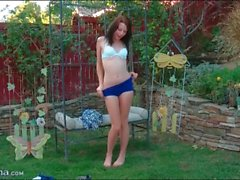 Cute teen cheerleader Chloe Love strips