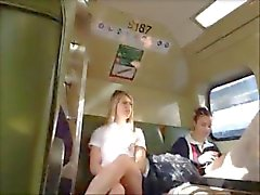 Upskirt Blonde Teen on Train