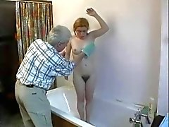 Old Man Fucks Hairy Cunted Pigtail Teen Up Ass