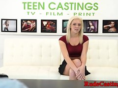 Casting teenie throatfucked and fingered