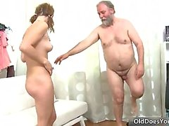 Nasty pretty face brunette hoe getting fucked hard and deep in the pussy by older guy