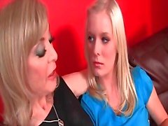 Teen doll seduced by lesbian horny MILF with kisses