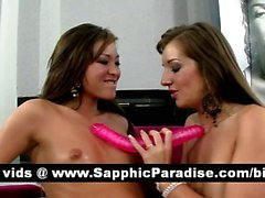 Naughty brunette lesbians pussy licking and toying and having lesbian love