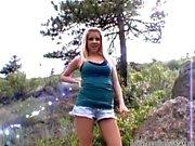 Slutty blonde amateur teen fucked outdoors