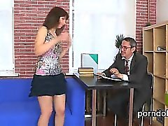Sweet college girl was tempted and plowed by her elderly men