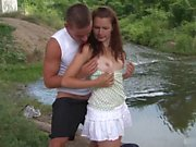 Amazing couple with sexy european brunette teen outdoor