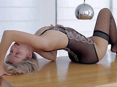 Skinny sweetie posing in lingerie