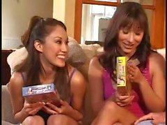 Kinky dames do a three-way with an old dude on the living room sofa