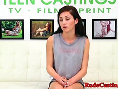 Real teen fucked and ballgaged at casting
