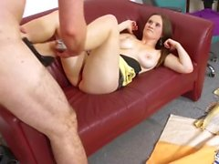 Fakeshooting Brunette busty girl confused when asked to fuck photographer