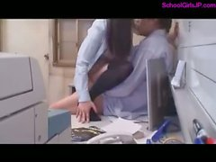 Schoolgirl Getting Her Hairy Pussy Fucked By Her Teacher Cum To Mouth In The Office