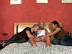 Attractive virgin seduced to have three-some