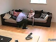 Blonde amateur in stockings fucking on casting