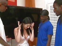 Innocent looking teen takes big black cocks in her holes