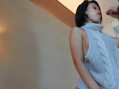Asian teen in elegant sweater fucked hard and creampied