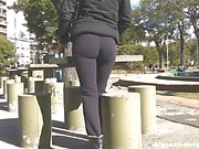 THIS is a Round Beautiful Ass in public & a Deep Cameltoe