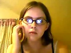 Nerdy Teen Strips And Masturbates On Cam