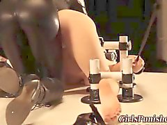 Latex lesbian domina binds a teen slut