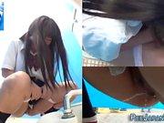 Asian teen babes urinate