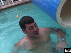 Beautiful chick gets fucked in the pool