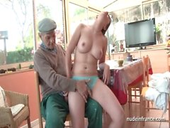 Nice titted french brunette banged by Papy Voyeur
