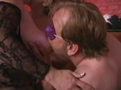 BBW MILF makes young tipsy BBW crawl eat cunt & cock in sex club Long edit