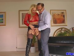 Bigtitted beauty gets creampied by oldman