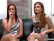Slender Teen Lara Brookes and redhead bitch have interview