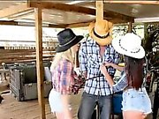 Two beautiful besties fucked by one lucky dude in Stable