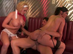 Stud fucks busty blonde MOM while young brunette watches