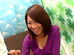Subtitled CFNM Japanese busty amateur handjob interview