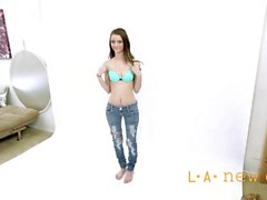 skinny teen is not happy at casting audition
