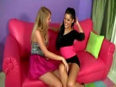 Young Blackhaired Girl In Sexy Dress And High Heels Getting Her Pussy Licked Fingered On The Couch