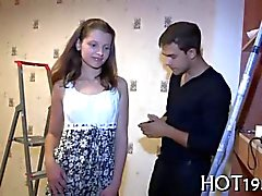 Russian cuckold teen watches his gf fuck