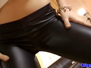Glamcore teen doggystyled in POV by old man