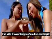 Superb brunette lesbians kisisng and licking nipples and having lesbian sex