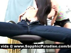 Adorable brunette lesbos kissing and licking pussy and having lesbo sex