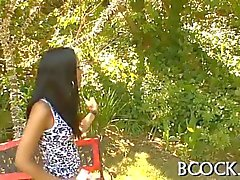 Skinny Latina nibbles a bbc like a squirrel