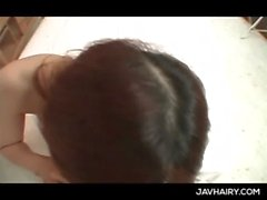 Natural Japanese lovely teen babe giving handjob and blowjob