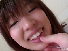 Ai Okada in her school uniform is spread wide for a stiffy