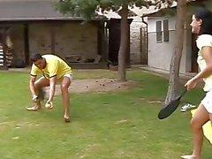Brunette gets it hard in the backyard