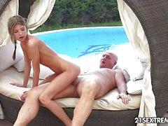 Hot Teen beauty fucks grandpa by the pool