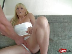 Teen swallows this hard cock